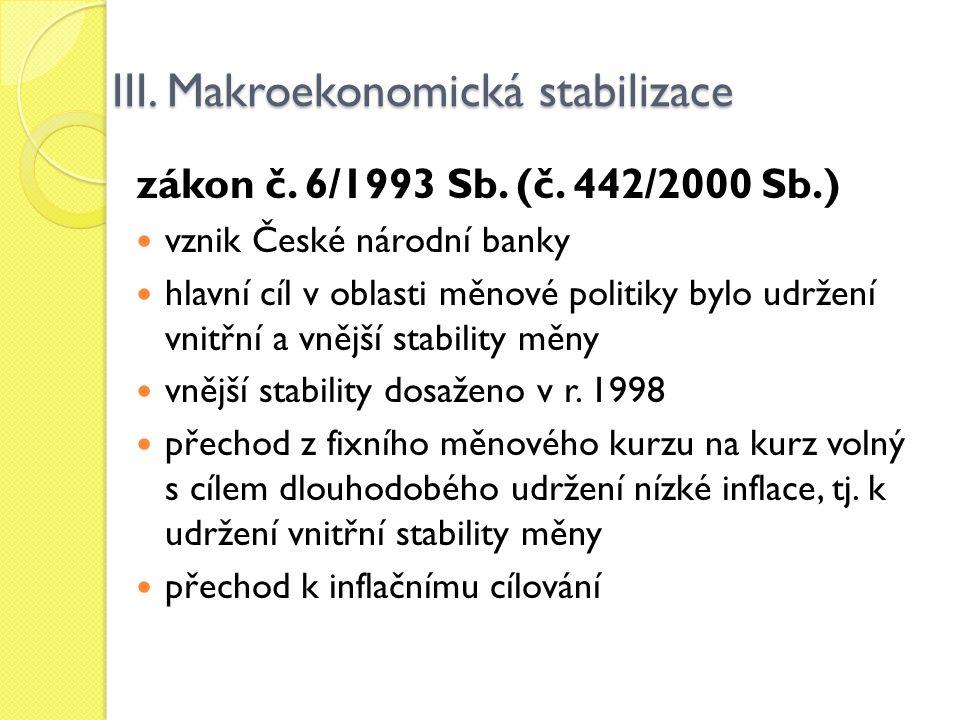III. Makroekonomická stabilizace zákon č. 6/1993 Sb. (č. 442/2000 Sb.) vznik České národní banky hlavní cíl v oblasti měnové politiky bylo udržení vni