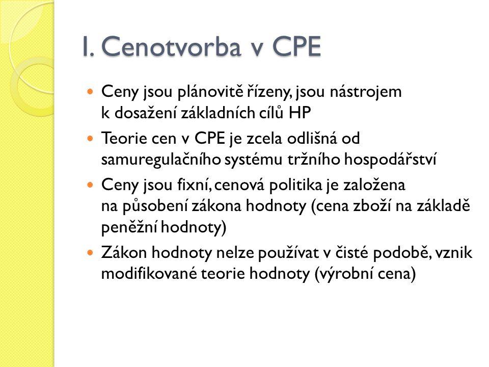 I. Cenotvorba v CPE Ceny jsou plánovitě řízeny, jsou nástrojem k dosažení základních cílů HP Teorie cen v CPE je zcela odlišná od samuregulačního syst