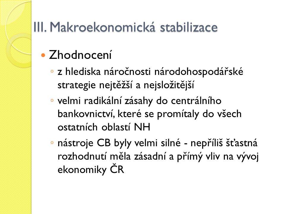 III. Makroekonomická stabilizace Zhodnocení ◦ z hlediska náročnosti národohospodářské strategie nejtěžší a nejsložitější ◦ velmi radikální zásahy do c