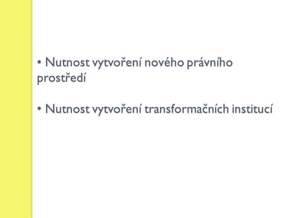 Nutnost vytvoření nového právního prostředí Nutnost vytvoření nového právního prostředí Nutnost vytvoření transformačních institucí Nutnost vytvoření transformačních institucí