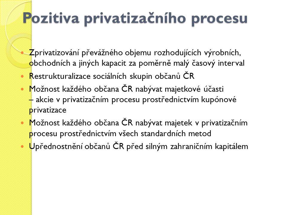 Pozitiva privatizačního procesu Zprivatizování převážného objemu rozhodujících výrobních, obchodních a jiných kapacit za poměrně malý časový interval