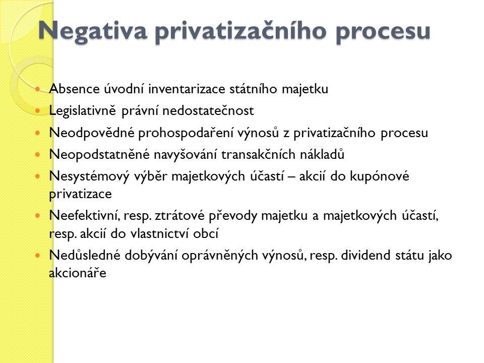Negativa privatizačního procesu Absence úvodní inventarizace státního majetku Legislativně právní nedostatečnost Neodpovědné prohospodaření výnosů z p