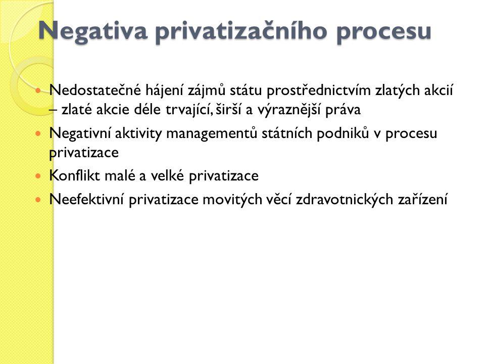 Negativa privatizačního procesu Nedostatečné hájení zájmů státu prostřednictvím zlatých akcií – zlaté akcie déle trvající, širší a výraznější práva Ne