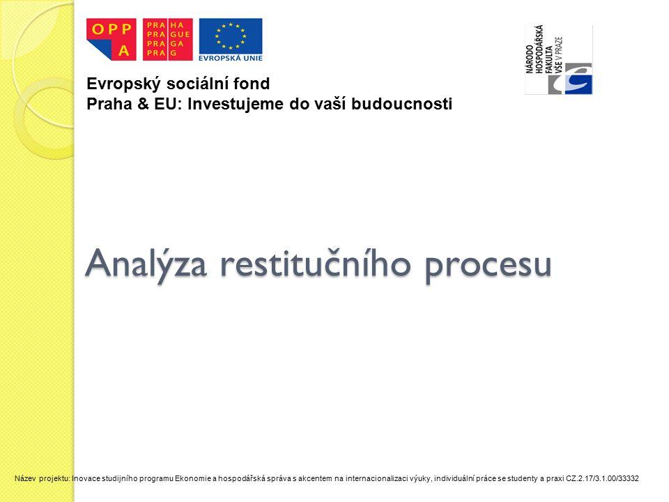 Analýza restitučního procesu Evropský sociální fond Praha & EU: Investujeme do vaší budoucnosti Název projektu: Inovace studijního programu Ekonomie a hospodářská správa s akcentem na internacionalizaci výuky, individuální práce se studenty a praxi CZ.2.17/3.1.00/33332