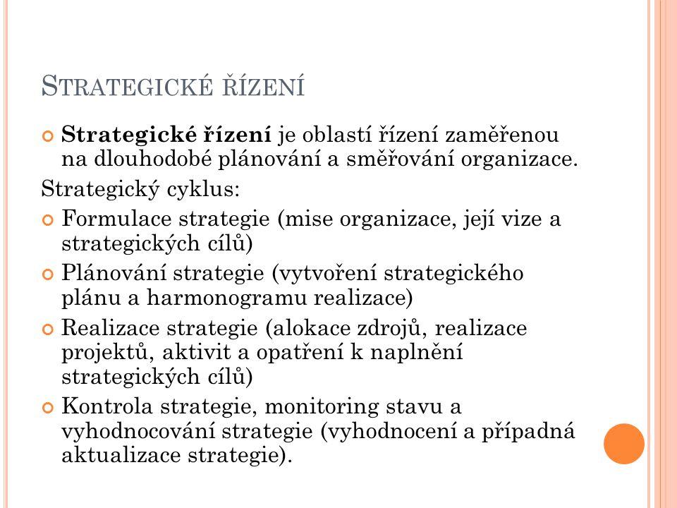 S TRATEGICKÉ ŘÍZENÍ Strategické řízení je oblastí řízení zaměřenou na dlouhodobé plánování a směřování organizace. Strategický cyklus: Formulace strat