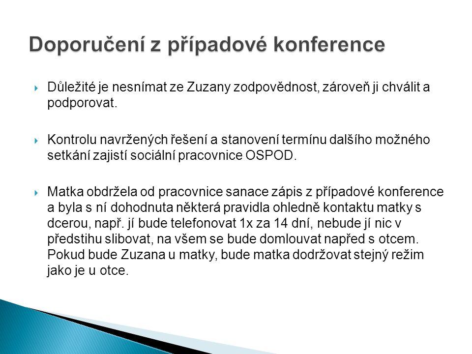  Důležité je nesnímat ze Zuzany zodpovědnost, zároveň ji chválit a podporovat.  Kontrolu navržených řešení a stanovení termínu dalšího možného setká
