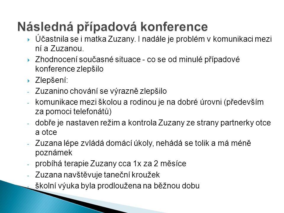  Účastnila se i matka Zuzany. I nadále je problém v komunikaci mezi ní a Zuzanou.  Zhodnocení současné situace - co se od minulé případové konferenc