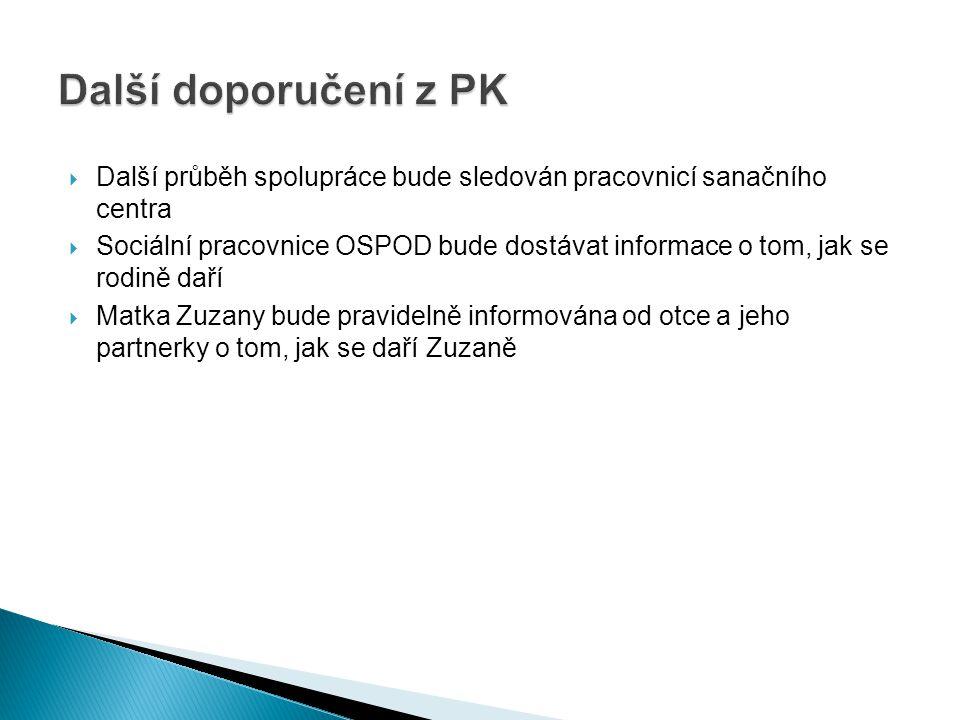  Další průběh spolupráce bude sledován pracovnicí sanačního centra  Sociální pracovnice OSPOD bude dostávat informace o tom, jak se rodině daří  Ma
