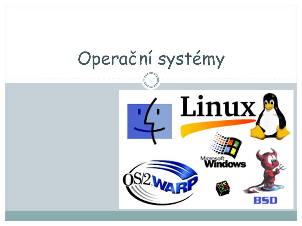 Obecně Patří mezi základní programové vybavení počítače Do paměti počítače je zaveden hned po jeho spuštění, a zůstává aktivní až do vypnutí počítače Základní části: JÁDRO, pomocné systémové nástroje Hlavním úkolem: -zajistit uživateli možnost ovládat počítač -vytvořit pro procesy stabilní aplikační rozhraní (API) -přiřazovat procesům zdroje Operační systémy dnešní doby se vyznačují funkcí multitasking