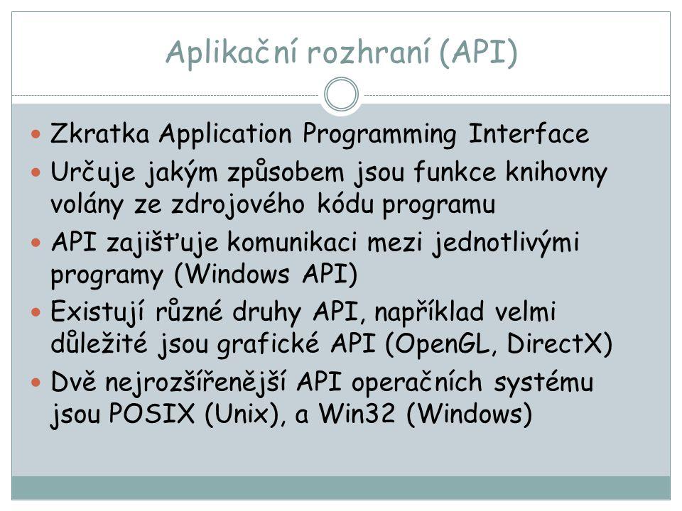 Aplikační rozhraní (API) Zkratka Application Programming Interface Určuje jakým způsobem jsou funkce knihovny volány ze zdrojového kódu programu API zajišťuje komunikaci mezi jednotlivými programy (Windows API) Existují různé druhy API, například velmi důležité jsou grafické API (OpenGL, DirectX) Dvě nejrozšířenější API operačních systému jsou POSIX (Unix), a Win32 (Windows)