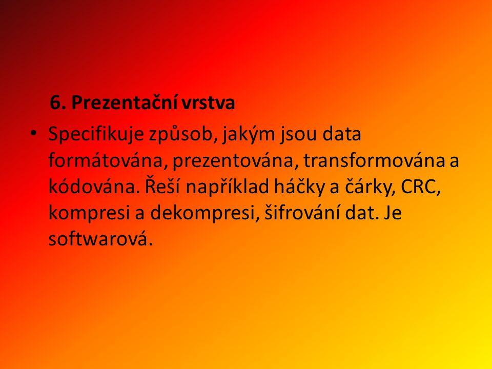 6. Prezentační vrstva Specifikuje způsob, jakým jsou data formátována, prezentována, transformována a kódována. Řeší například háčky a čárky, CRC, kom