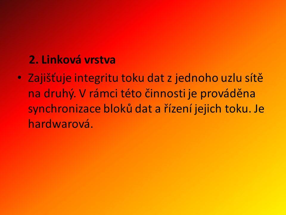 2. Linková vrstva Zajišťuje integritu toku dat z jednoho uzlu sítě na druhý.