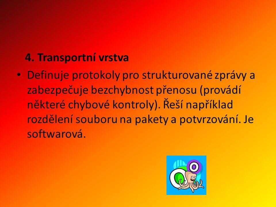 4. Transportní vrstva Definuje protokoly pro strukturované zprávy a zabezpečuje bezchybnost přenosu (provádí některé chybové kontroly). Řeší například