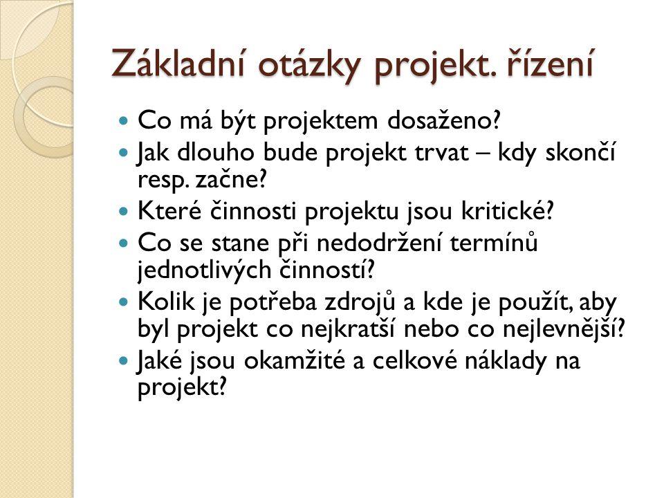 Základní otázky projekt.řízení Co má být projektem dosaženo.