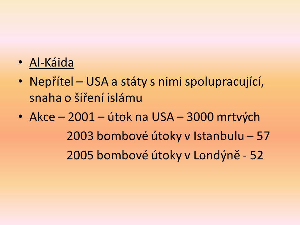 Al-Káida Nepřítel – USA a státy s nimi spolupracující, snaha o šíření islámu Akce – 2001 – útok na USA – 3000 mrtvých 2003 bombové útoky v Istanbulu – 57 2005 bombové útoky v Londýně - 52