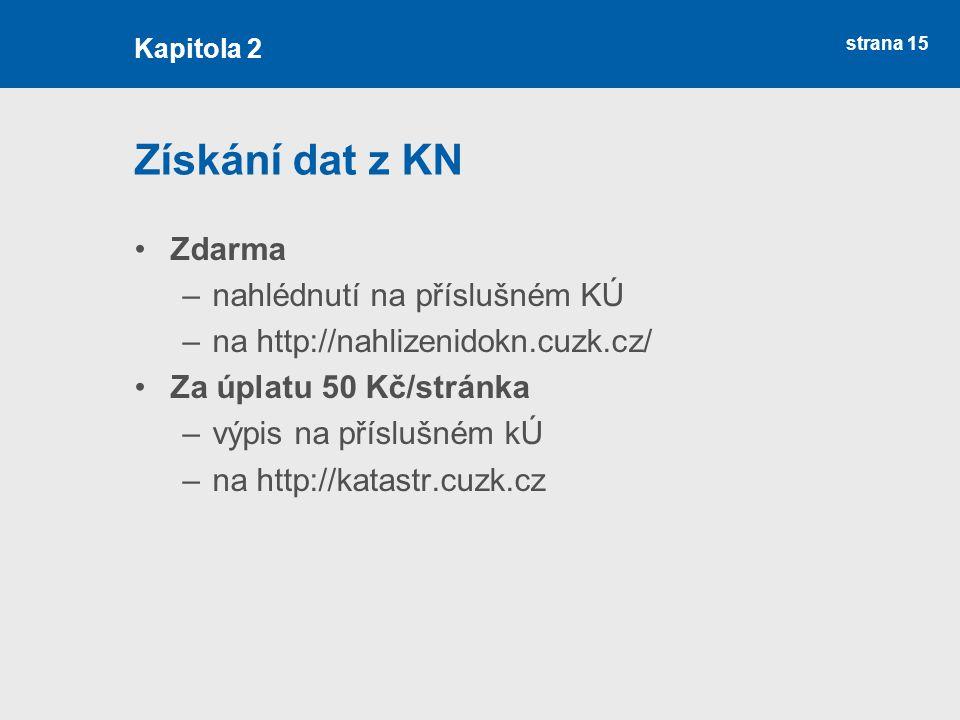 strana 15 Získání dat z KN Zdarma –nahlédnutí na příslušném KÚ –na http://nahlizenidokn.cuzk.cz/ Za úplatu 50 Kč/stránka –výpis na příslušném kÚ –na h