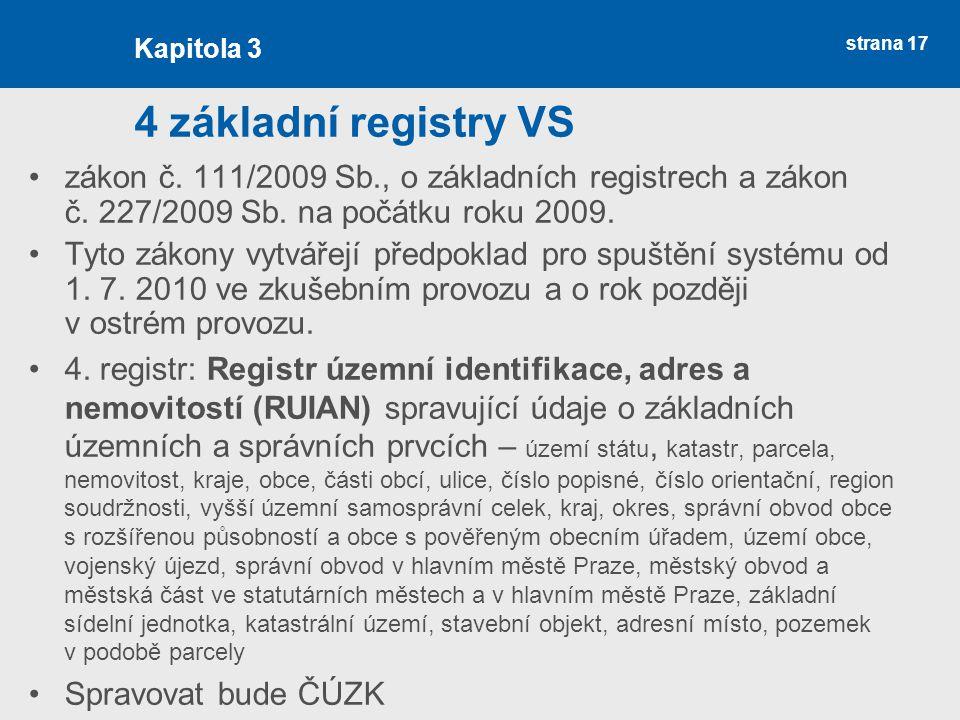 strana 17 4 základní registry VS zákon č. 111/2009 Sb., o základních registrech a zákon č. 227/2009 Sb. na počátku roku 2009. Tyto zákony vytvářejí př