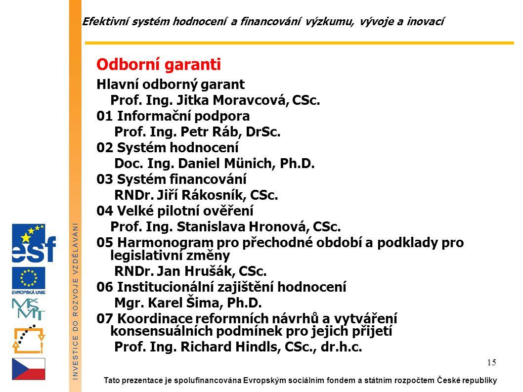 Efektivní systém hodnocení a financování výzkumu, vývoje a inovací Tato prezentace je spolufinancována Evropským sociálním fondem a státním rozpočtem České republiky 15 Odborní garanti Hlavní odborný garant Prof.