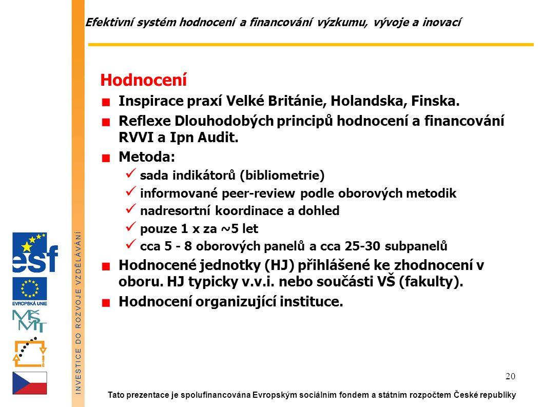 Efektivní systém hodnocení a financování výzkumu, vývoje a inovací Tato prezentace je spolufinancována Evropským sociálním fondem a státním rozpočtem České republiky 20 Hodnocení Inspirace praxí Velké Británie, Holandska, Finska.