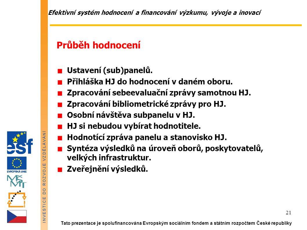 Efektivní systém hodnocení a financování výzkumu, vývoje a inovací Tato prezentace je spolufinancována Evropským sociálním fondem a státním rozpočtem České republiky 21 Průběh hodnocení Ustavení (sub)panelů.
