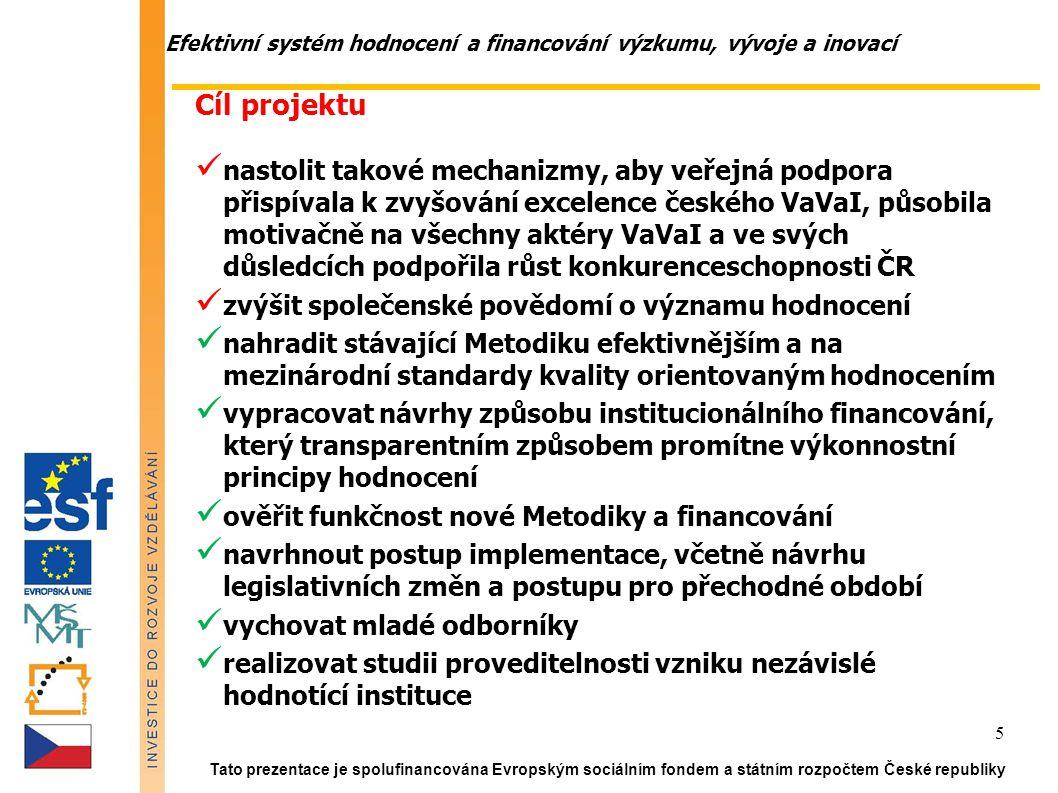 Efektivní systém hodnocení a financování výzkumu, vývoje a inovací Tato prezentace je spolufinancována Evropským sociálním fondem a státním rozpočtem České republiky 5 Cíl projektu nastolit takové mechanizmy, aby veřejná podpora přispívala k zvyšování excelence českého VaVaI, působila motivačně na všechny aktéry VaVaI a ve svých důsledcích podpořila růst konkurenceschopnosti ČR zvýšit společenské povědomí o významu hodnocení nahradit stávající Metodiku efektivnějším a na mezinárodní standardy kvality orientovaným hodnocením vypracovat návrhy způsobu institucionálního financování, který transparentním způsobem promítne výkonnostní principy hodnocení ověřit funkčnost nové Metodiky a financování navrhnout postup implementace, včetně návrhu legislativních změn a postupu pro přechodné období vychovat mladé odborníky realizovat studii proveditelnosti vzniku nezávislé hodnotící instituce