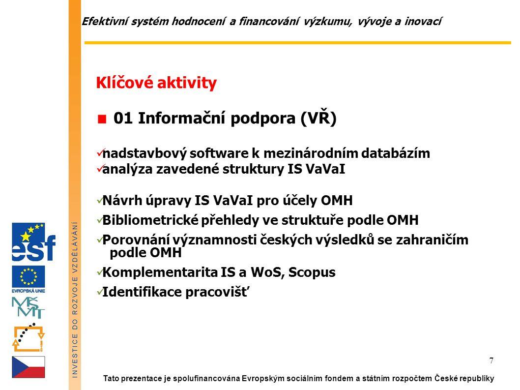 Efektivní systém hodnocení a financování výzkumu, vývoje a inovací Tato prezentace je spolufinancována Evropským sociálním fondem a státním rozpočtem České republiky 7 Klíčové aktivity 01 Informační podpora (VŘ) nadstavbový software k mezinárodním databázím analýza zavedené struktury IS VaVaI Návrh úpravy IS VaVaI pro účely OMH Bibliometrické přehledy ve struktuře podle OMH Porovnání významnosti českých výsledků se zahraničím podle OMH Komplementarita IS a WoS, Scopus Identifikace pracovišť