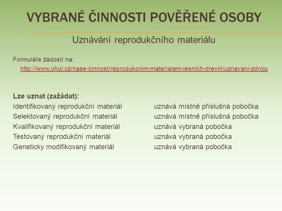 VYBRANÉ ČINNOSTI POVĚŘENÉ OSOBY Uznávání reprodukčního materiálu Žádosti - směřovat na ústředí ÚHÚL - formuláře – Vyhlášky č.