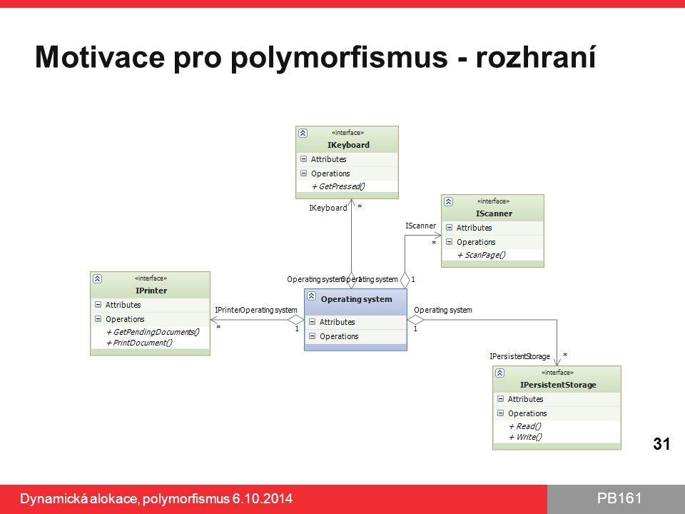 PB161 Motivace pro polymorfismus - rozhraní Dynamická alokace, polymorfismus 6.10.2014 31