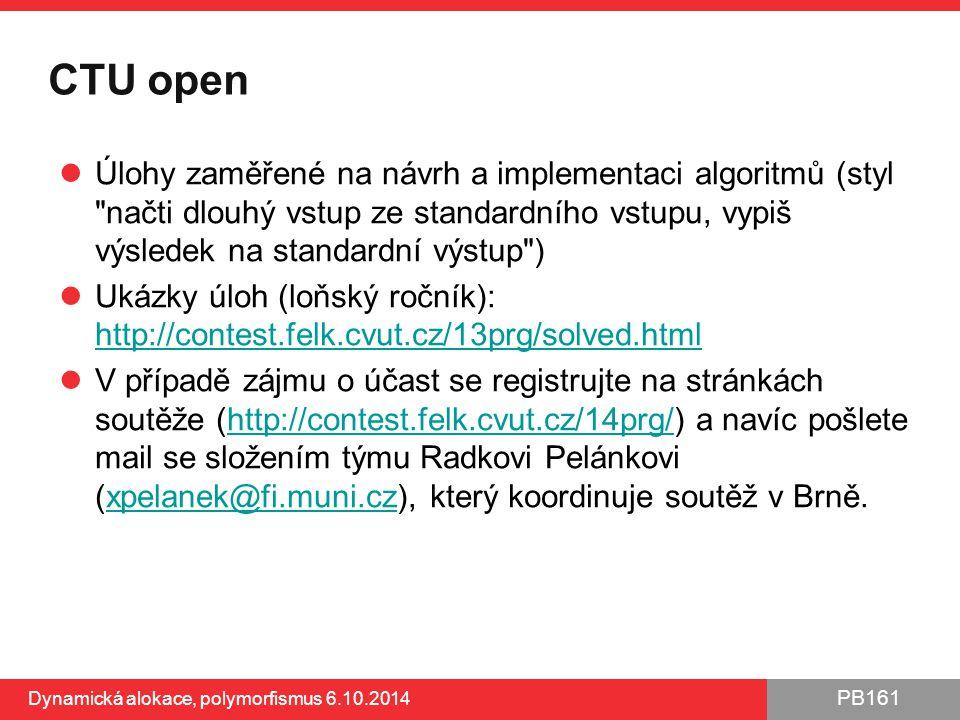 PB161 CTU open Úlohy zaměřené na návrh a implementaci algoritmů (styl