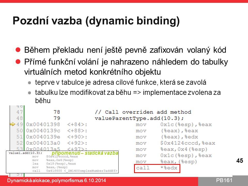 PB161 Pozdní vazba (dynamic binding) Během překladu není ještě pevně zafixován volaný kód Přímé funkční volání je nahrazeno náhledem do tabulky virtuá