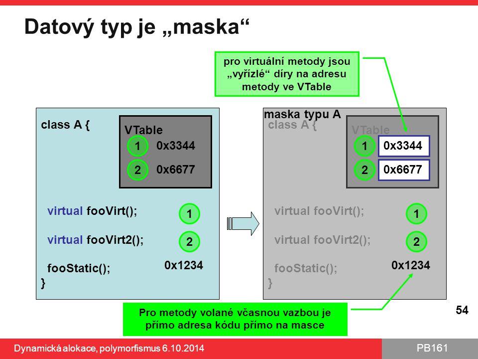 """PB161 Datový typ je """"maska"""" Dynamická alokace, polymorfismus 6.10.2014 54 class A { virtual fooVirt(); virtual fooVirt2(); fooStatic(); } 0x1234 VTabl"""