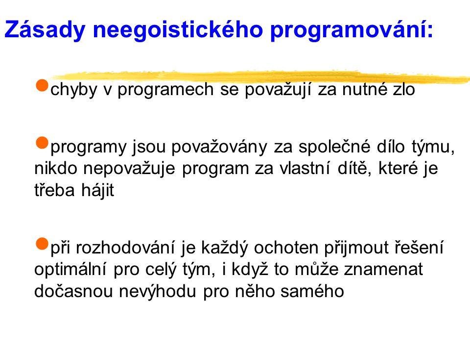 Zásady neegoistického programování:  chyby v programech se považují za nutné zlo  programy jsou považovány za společné dílo týmu, nikdo nepovažuje p