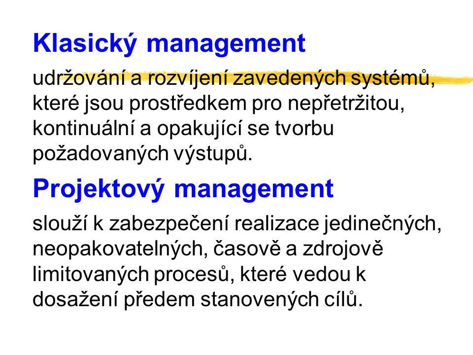 Plánování projektu Řízení realizace projektu Organizování a koordinování projektů Vytváření organizačního prostředí Koordinování projektů Projektový management Management projektu