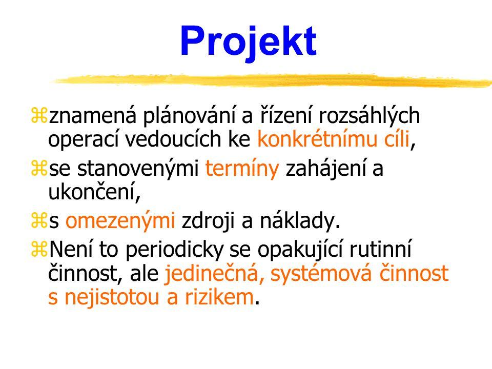 Projekt zznamená plánování a řízení rozsáhlých operací vedoucích ke konkrétnímu cíli, zse stanovenými termíny zahájení a ukončení, zs omezenými zdroji