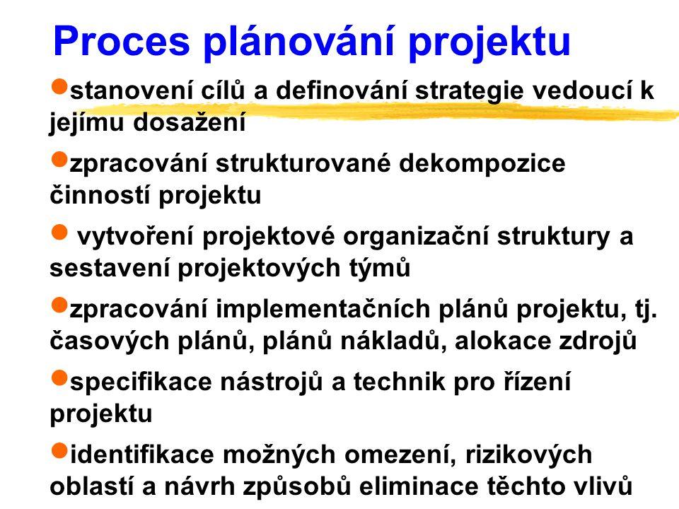  stanovení cílů a definování strategie vedoucí k jejímu dosažení  zpracování strukturované dekompozice činností projektu  vytvoření projektové orga
