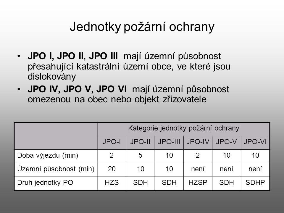 Jednotky požární ochrany JPO I, JPO II, JPO III mají územní působnost přesahující katastrální území obce, ve které jsou dislokovány JPO IV, JPO V, JPO
