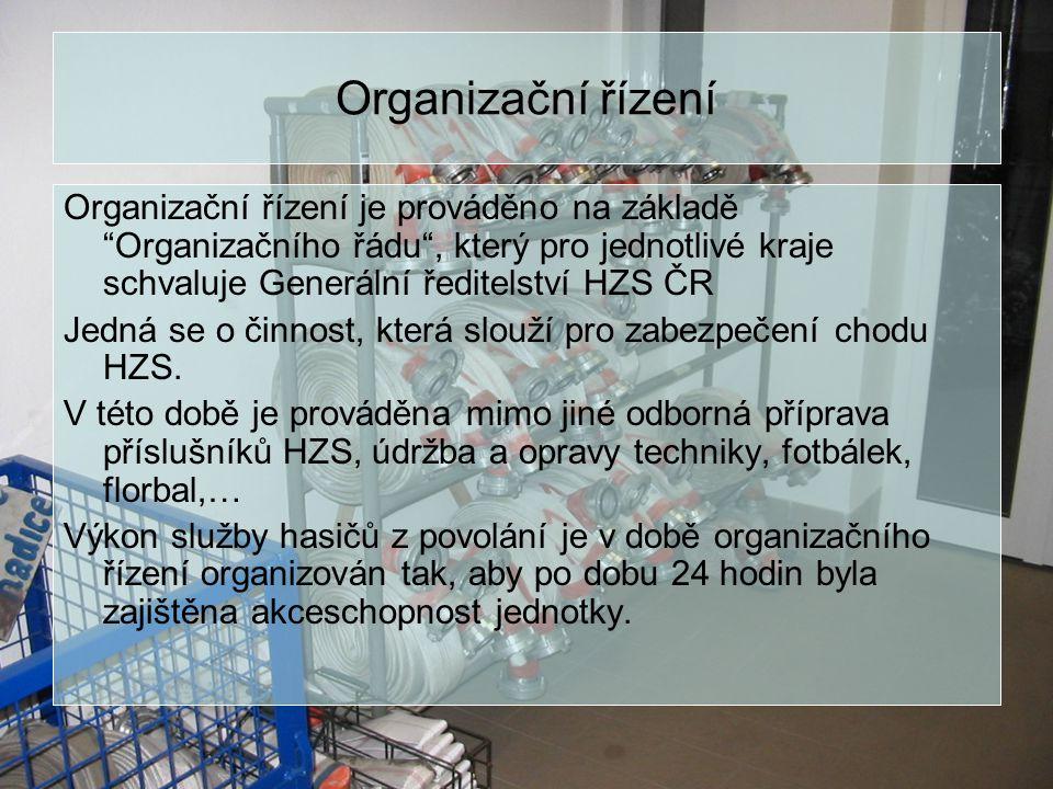 """Organizační řízení Organizační řízení je prováděno na základě """"Organizačního řádu"""", který pro jednotlivé kraje schvaluje Generální ředitelství HZS ČR"""