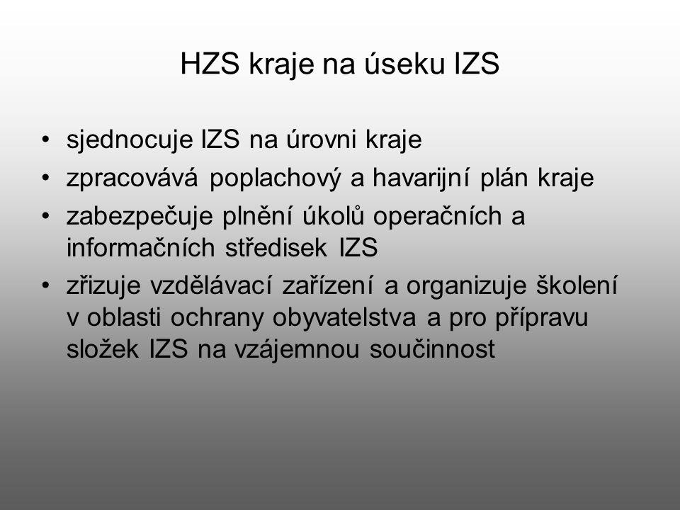 HZS kraje na úseku IZS sjednocuje IZS na úrovni kraje zpracovává poplachový a havarijní plán kraje zabezpečuje plnění úkolů operačních a informačních