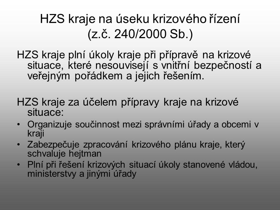 HZS kraje na úseku krizového řízení (z.č. 240/2000 Sb.) HZS kraje plní úkoly kraje při přípravě na krizové situace, které nesouvisejí s vnitřní bezpeč