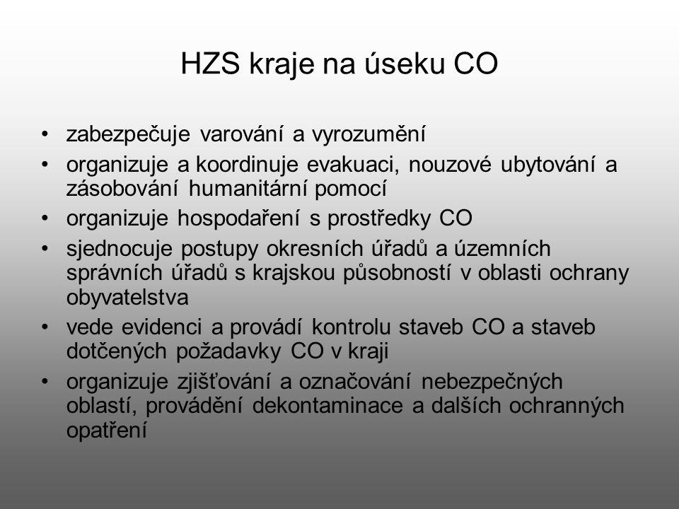 HZS kraje na úseku CO zabezpečuje varování a vyrozumění organizuje a koordinuje evakuaci, nouzové ubytování a zásobování humanitární pomocí organizuje