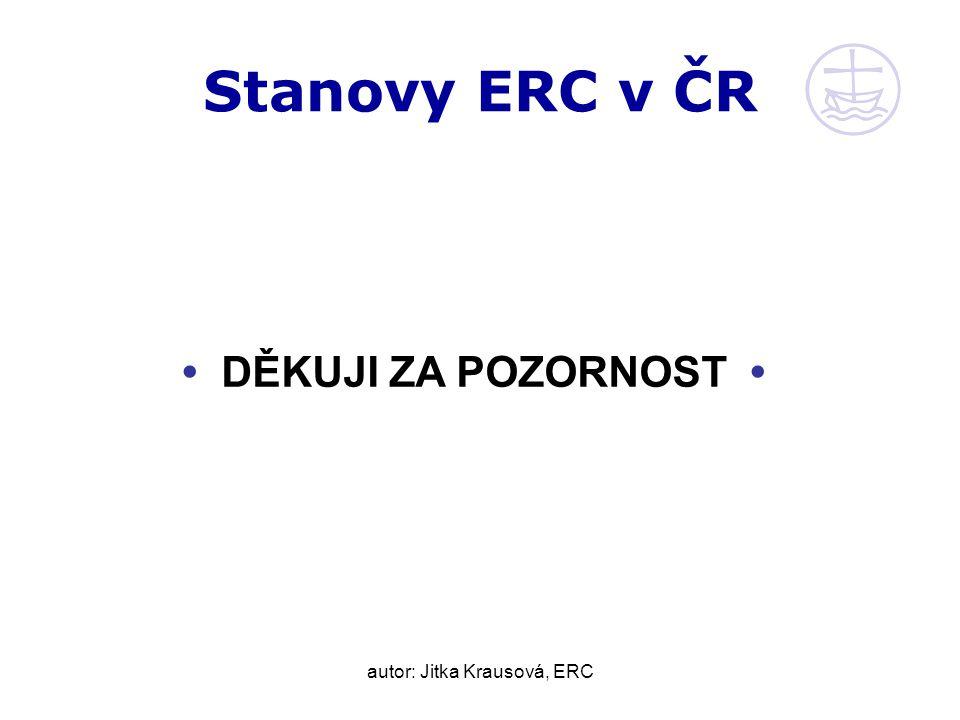 autor: Jitka Krausová, ERC Stanovy ERC v ČR DĚKUJI ZA POZORNOST