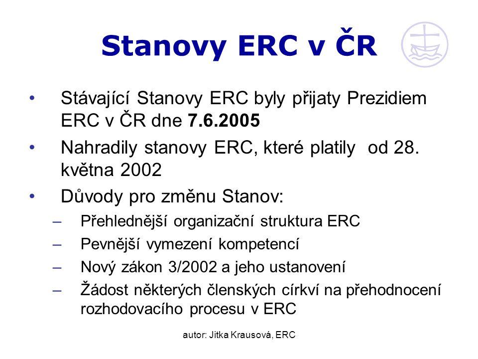 autor: Jitka Krausová, ERC Stanovy ERC v ČR Stávající Stanovy ERC byly přijaty Prezidiem ERC v ČR dne 7.6.2005 Nahradily stanovy ERC, které platily od 28.