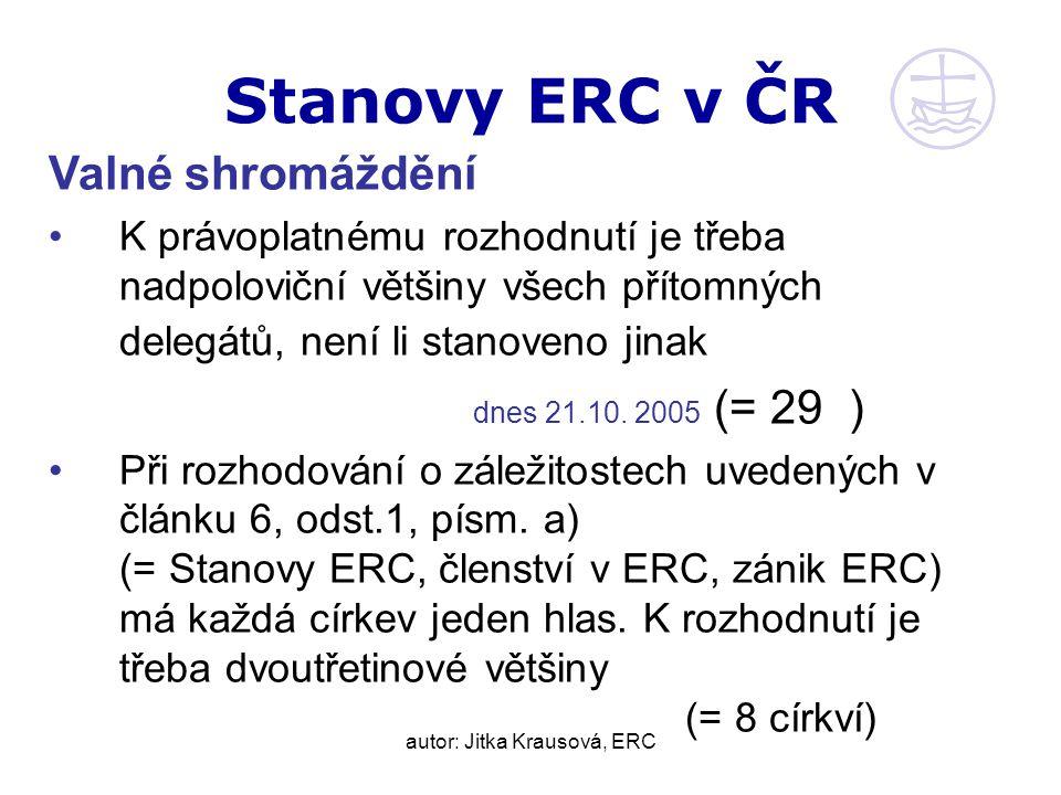 autor: Jitka Krausová, ERC Stanovy ERC v ČR Valné shromáždění K právoplatnému rozhodnutí je třeba nadpoloviční většiny všech přítomných delegátů, není li stanoveno jinak dnes 21.10.