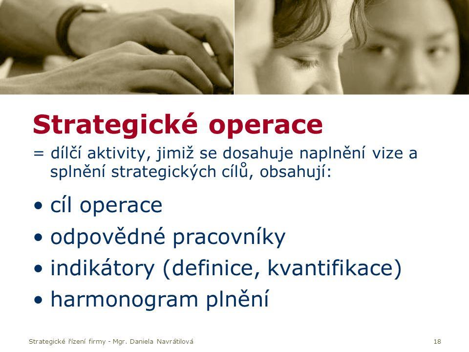 Strategické řízení firmy - Mgr. Daniela Navrátilová18 Strategické operace = dílčí aktivity, jimiž se dosahuje naplnění vize a splnění strategických cí