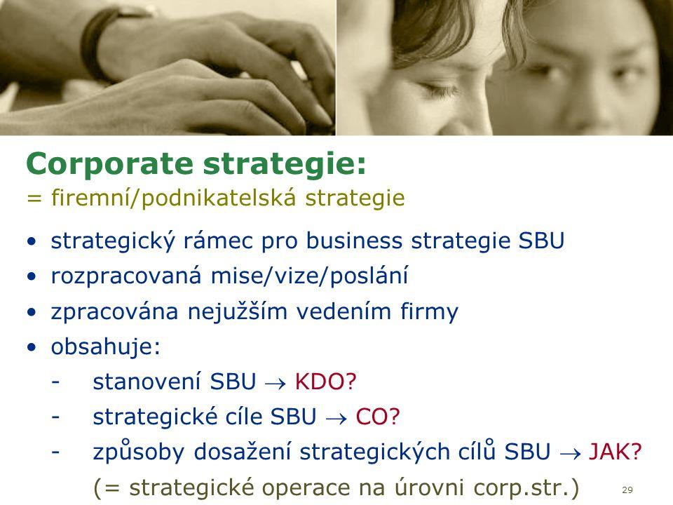 29 Corporate strategie: = firemní/podnikatelská strategie strategický rámec pro business strategie SBU rozpracovaná mise/vize/poslání zpracována nejuž