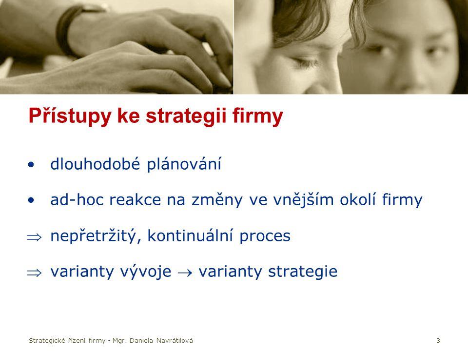 Strategické řízení firmy - Mgr. Daniela Navrátilová3 Přístupy ke strategii firmy dlouhodobé plánování ad-hoc reakce na změny ve vnějším okolí firmy n