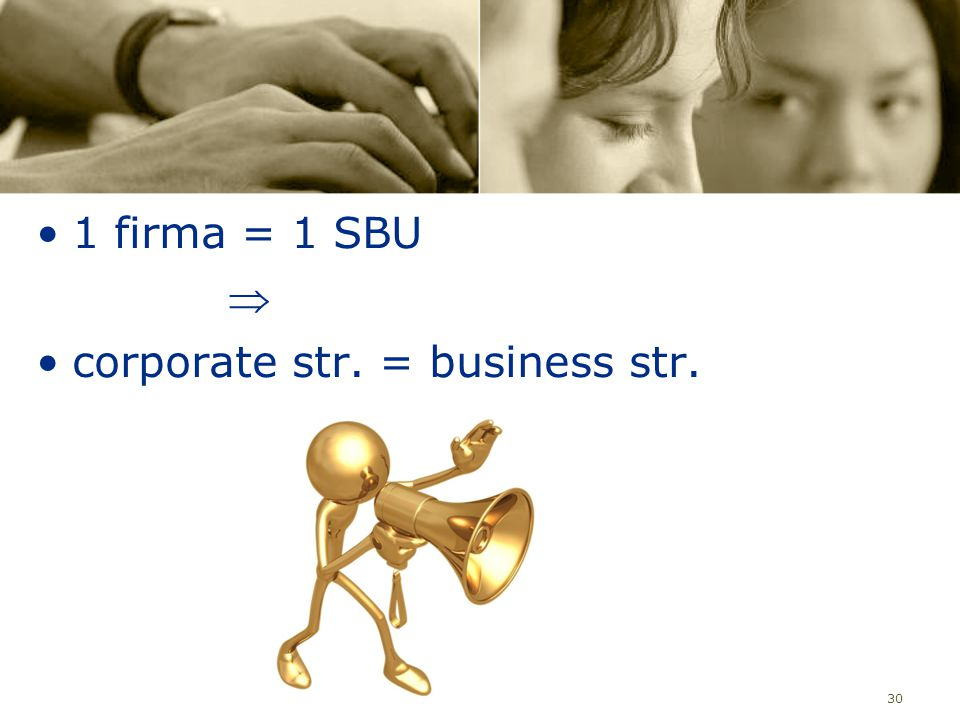 30 1 firma = 1 SBU  corporate str. = business str.