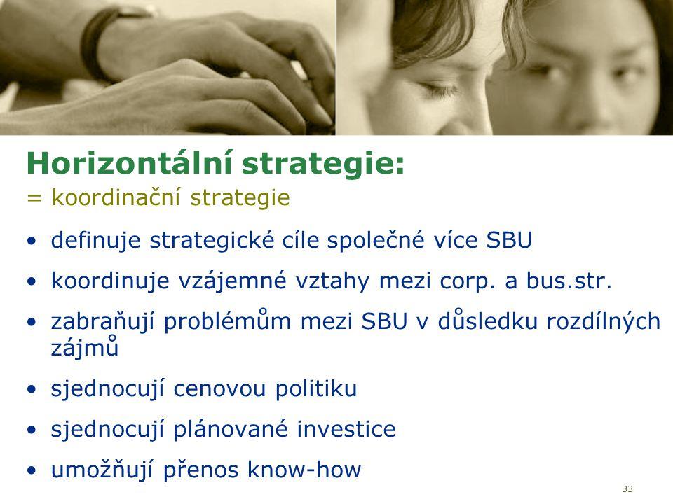 33 Horizontální strategie: = koordinační strategie definuje strategické cíle společné více SBU koordinuje vzájemné vztahy mezi corp. a bus.str. zabraň