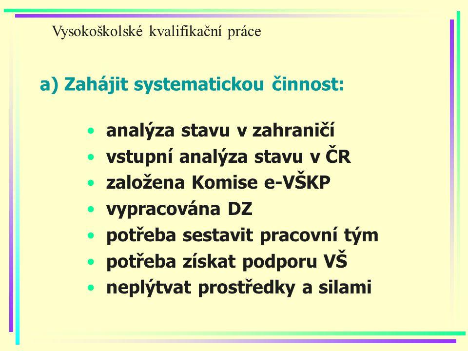 a) Zahájit systematickou činnost: analýza stavu v zahraničí vstupní analýza stavu v ČR založena Komise e-VŠKP vypracována DZ potřeba sestavit pracovní tým potřeba získat podporu VŠ neplýtvat prostředky a silami Vysokoškolské kvalifikační práce