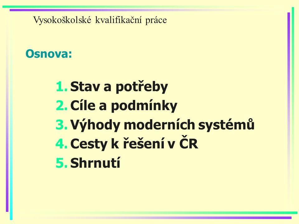 Osnova: 1.Stav a potřeby 2.Cíle a podmínky 3.Výhody moderních systémů 4.Cesty k řešení v ČR 5.Shrnutí Vysokoškolské kvalifikační práce